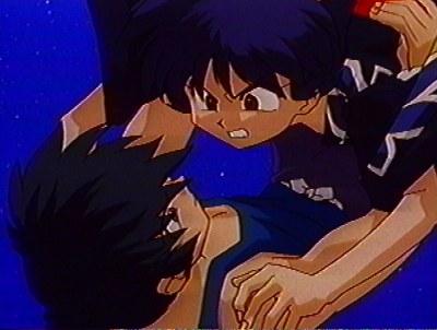Ranma protecting Akane.